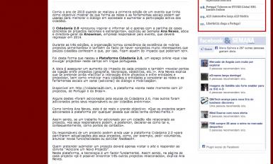 Peça sobre o Cidadania 2.0 no Semana Informática (25 Out 2013)