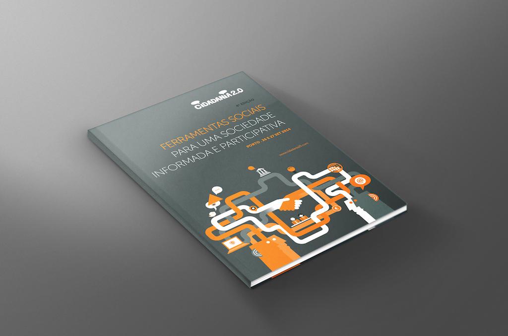 Mockup do booklet a entregar aos participantes do Cidadania 2.0 2014