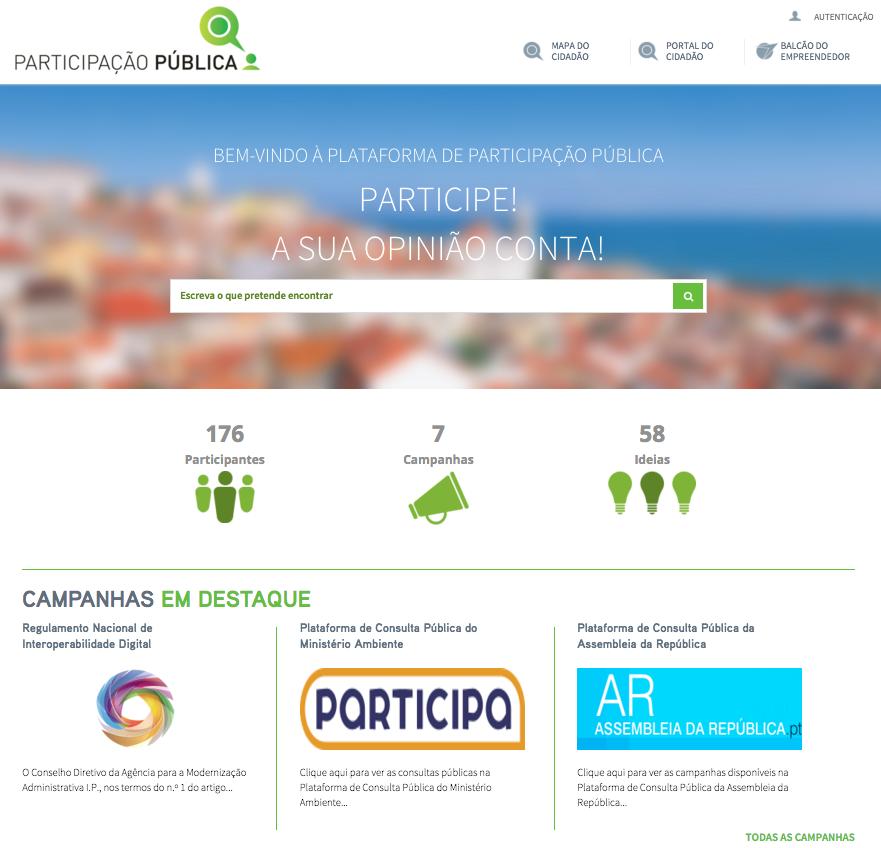 Portal de Participação Pública - Página Inicial