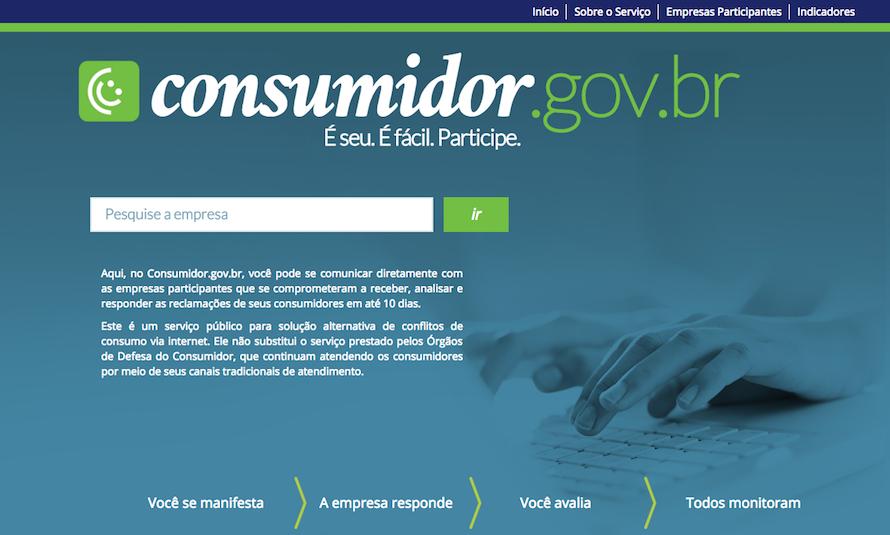 Página inicial do Consumidor.gov.br