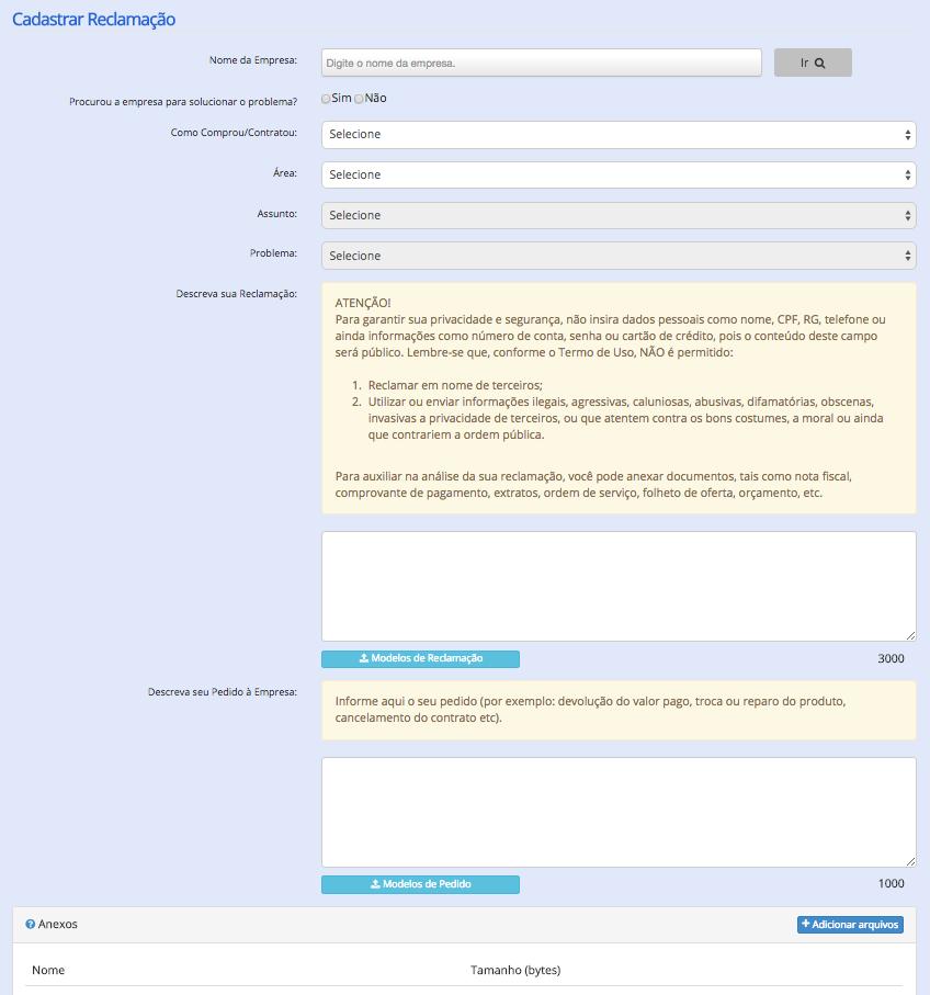 Formulário para cadastro de reclamação no Consumidor.gov.br