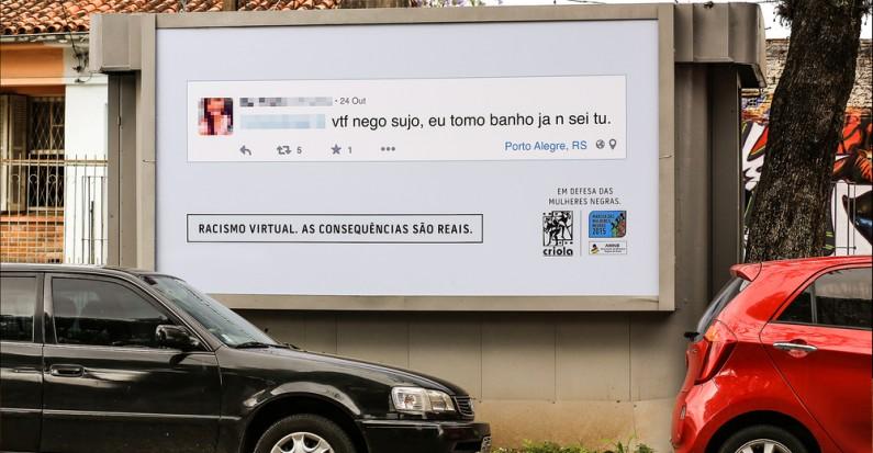 """Um dos cartazes da campanha """"Racismo Virtual Consequências Reais"""""""