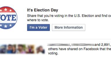 """Botão """"I'm a Voter"""" no Facebook"""