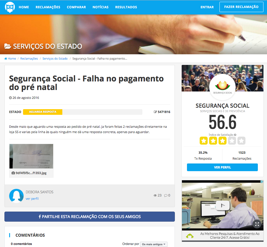 Queixa à Segurança Social no Portal da Queixa
