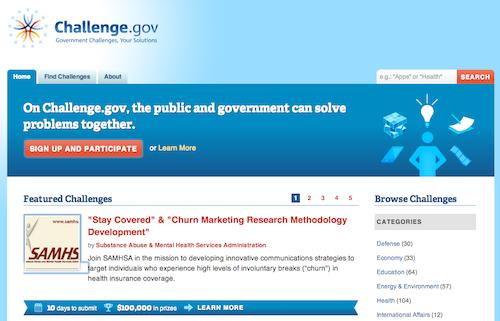 Screenshot do Challenge.Gov