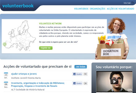 Screenshot do Volunteerbook