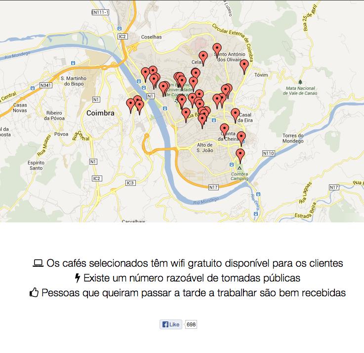 Cafés Wifi Coimbra (capturado a 30 Set 2013)