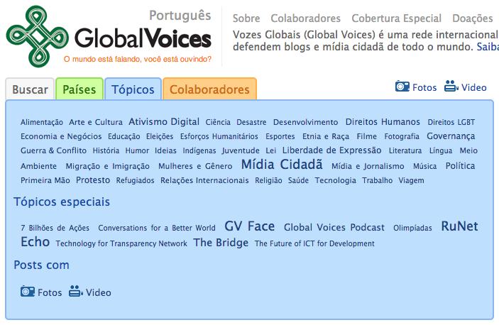 Global Voices - lista de tópicos
