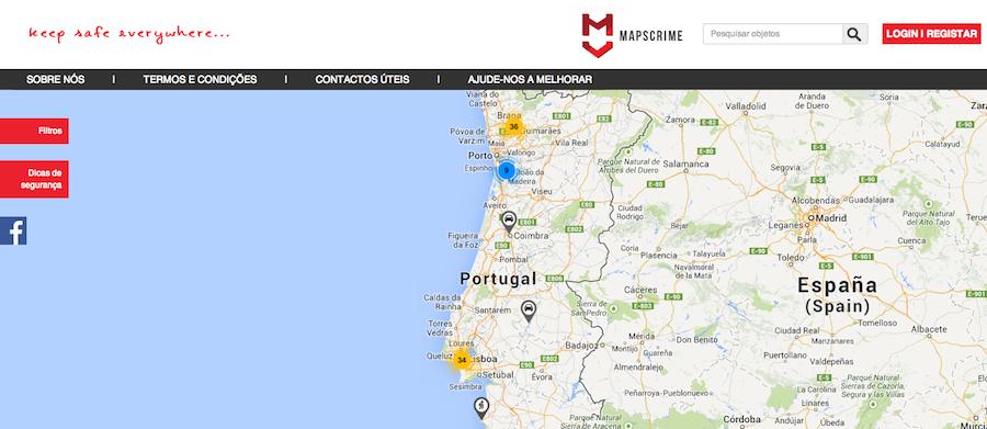 Página inicial do Mapscrime