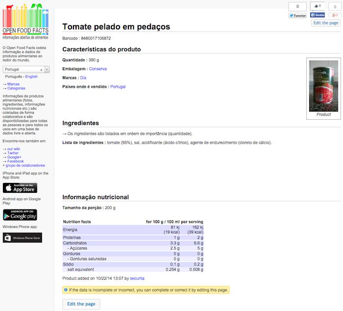 Página de um produto no Open Food Facts Portugal