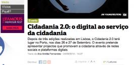 Notícia no P3 divulgando o Cidadania 2.0 2014