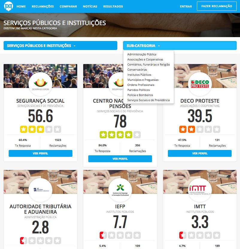 Comparações de entidades no Portal da Queixa