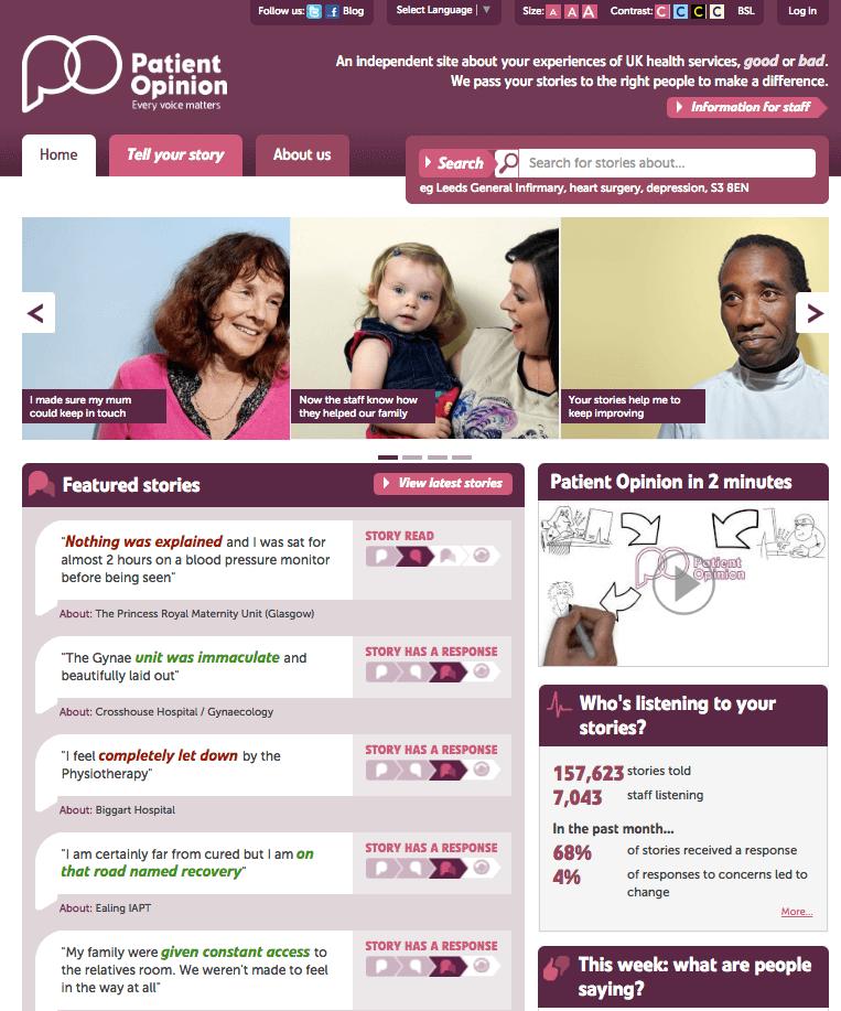 Página inicial do Patient Opinion. Nela são listadas histórias positivas e negativas sobre o serviço público de saúde inglês