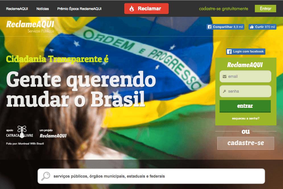 Página do Reclame Aqui voltada para a reclamação sobre serviços públicos no Brasil