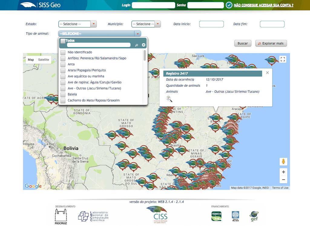 Mapa de registos no SISS Geo