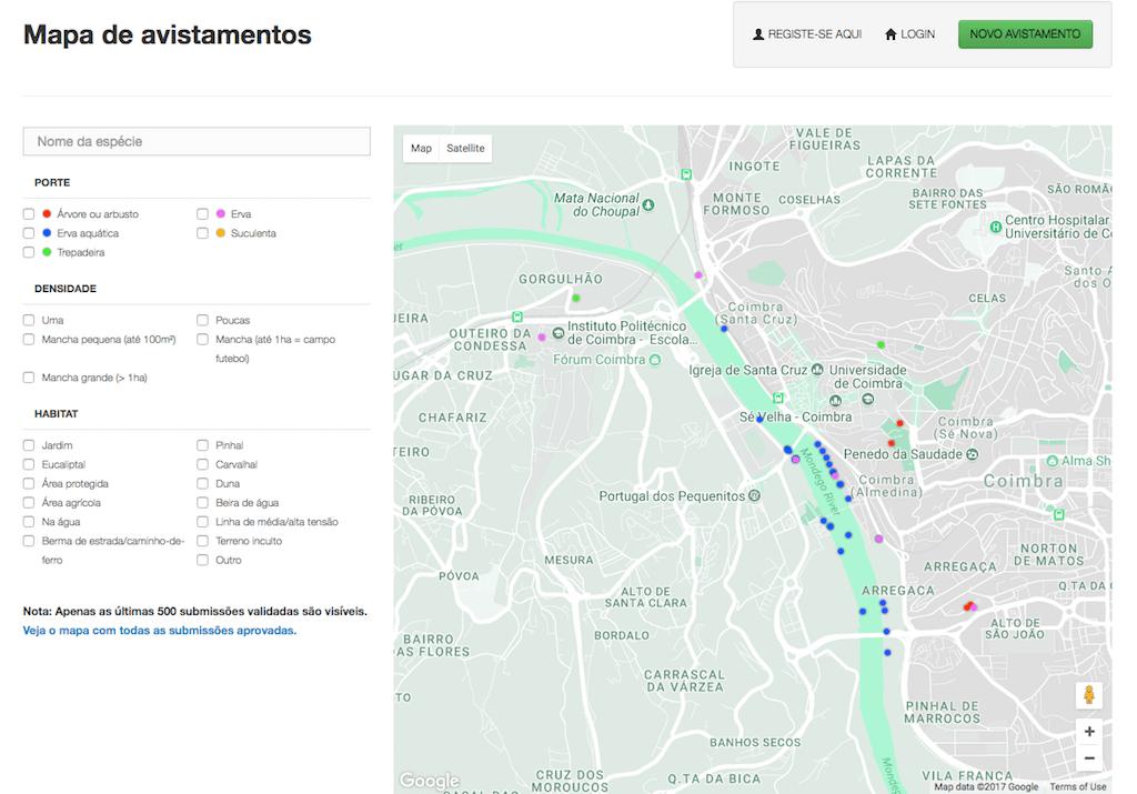 Invasoras.pt - mapa de avistamentos