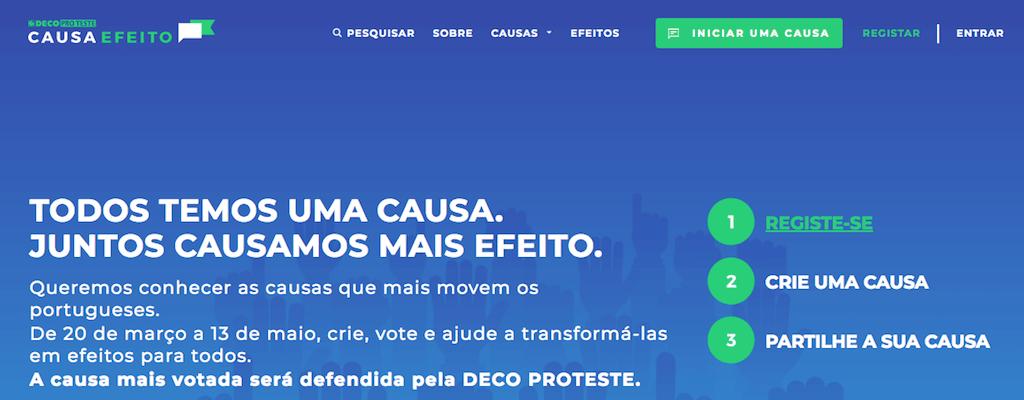 Causa Efeito - página inicial durante a campanha