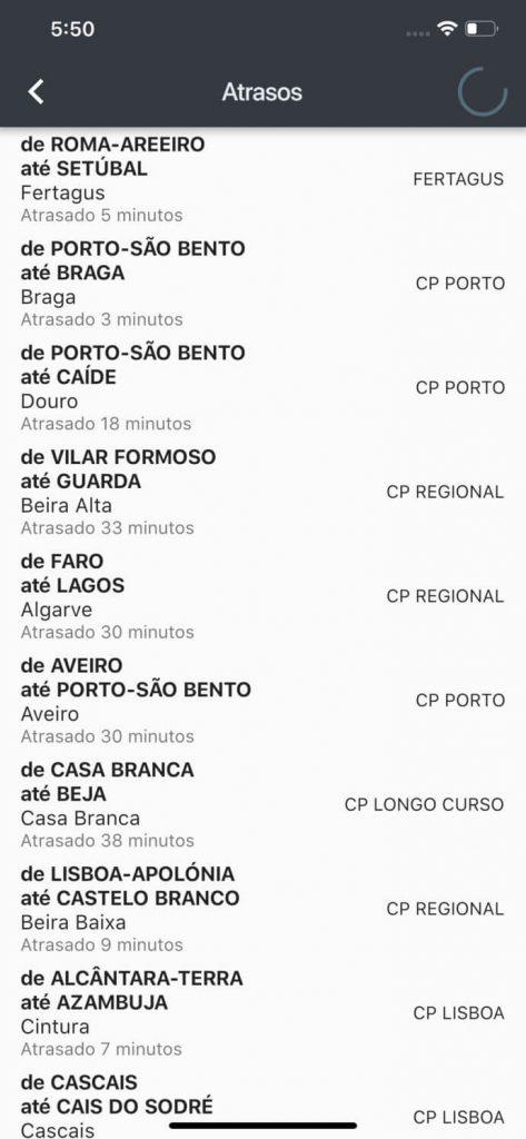 Suprimidos.pt (app) - lista dos comboios atrasados