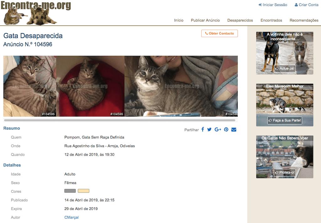 Encontra-me.org - anúncio de um animal desaparecido
