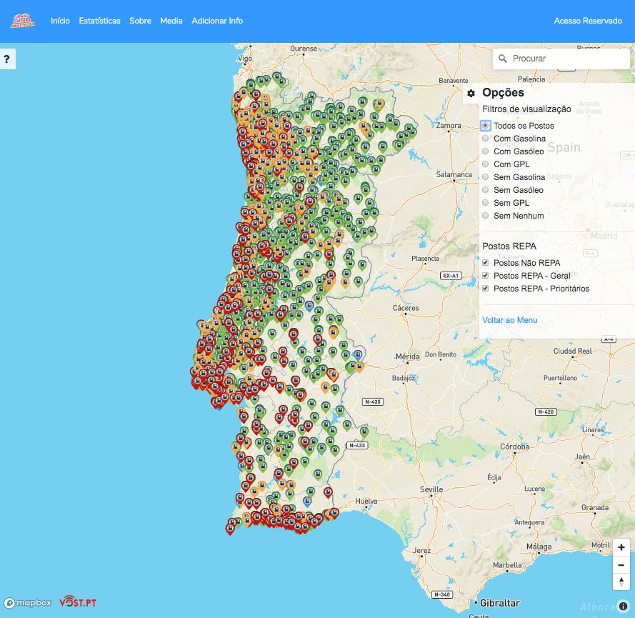 Mapa de bombas de gasolina com indicação de disponibilidade
