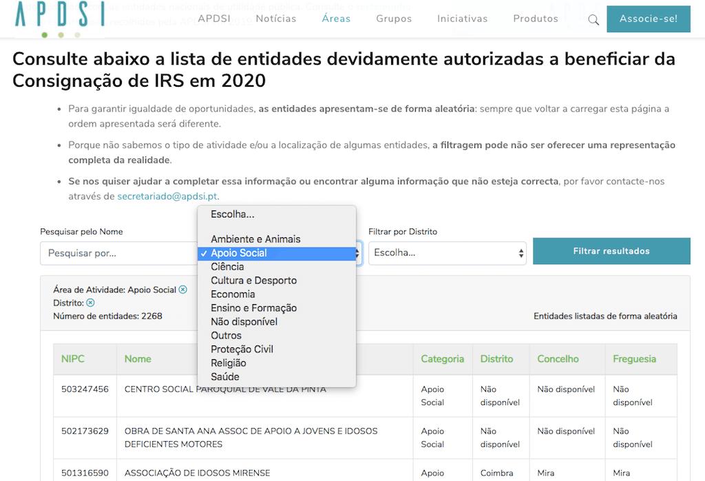 IRSconsig - Lista de entidades com filtro por tipo de atividade